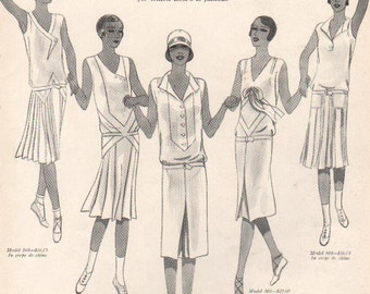 THREE FOR FOUR Art Deco era fashion print from Vogue magazine, front & back - fash 181