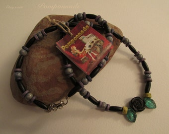 2983 - Necklace, Wood, Glass and Black Rose