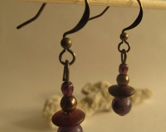 2143 - Earrings Amber and Stone