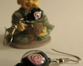 3183 - Earrings Murano Glass, Pink Flower