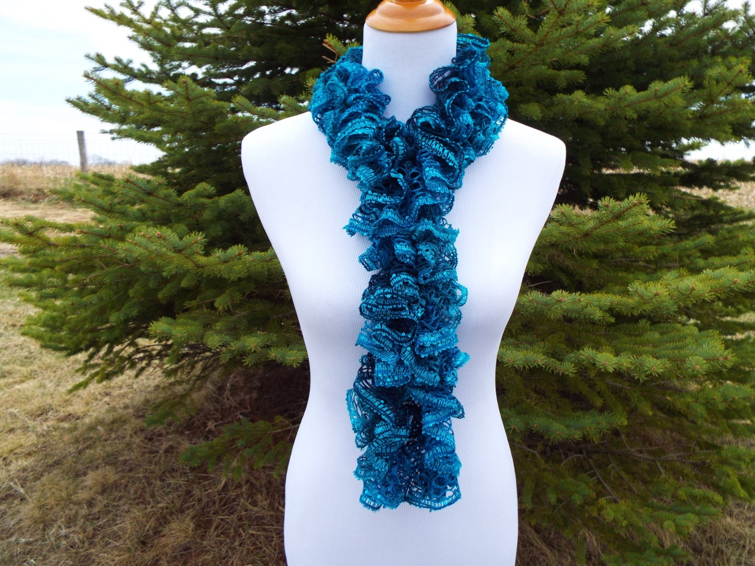 sashay yarn ruffle scarf december birthday crocheted