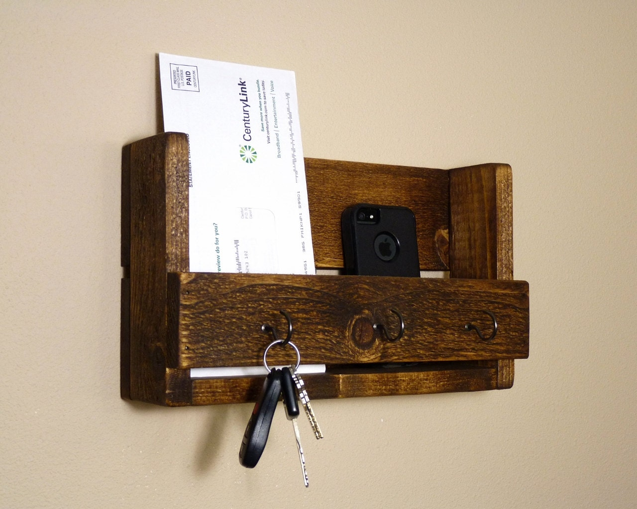 Rustic key holder and mail organizer by homesteadtraditions - Key hook and mail holder ...