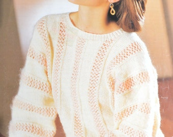 PDF lady's dolman sideways sweater jumper vintage knitting pattern pdf download pattern only pdf 1980s