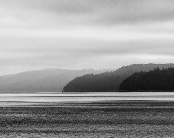 Landscape Photography, Sailboat, Hood Canal, Fog, Hood Canal, Pacific Nortwest, Fine Art ,Black and White Photography, Home Decor, Wall Art