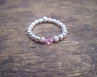 925 Sterling Silver Elasticated Ring with Light Rose Swarovski Crystal