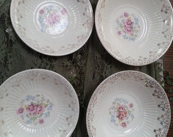 4 Vintage Royal China 22 K Gold bowls, National Brotherhood of Operative Potters, USA