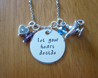"""Aladdin Inspired Necklace """"Let Your Heart Decide"""" Aladdin & Princess Jasmine. A Whole New World. Hand Stamped,  crystals Magic lamp"""