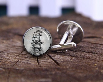Pirate Cufflinks, Pirate Ship Cufflinks, Antique Nautical Seas Cuff Links, Personalized Cufflinks, Battleship Cufflink, Vintage cufflinks
