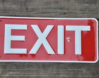 "Vintage Metal Exit sign  7"" x 15"""