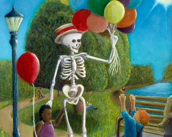 "Surreal Portrait of 'No Balloons for Him!' 6""x9"", 8""x12"", 12""x18"", or 16""x24"" Skeleton and balloons"