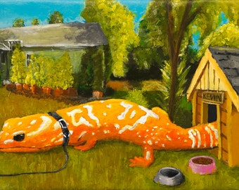"""Surreal Painting of 'Kevin, the big orange lizard' 10""""x20"""" acrylic on canvas"""