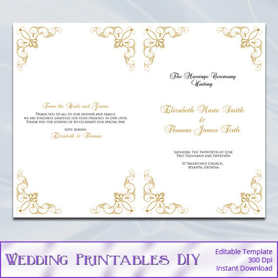 Gold Wedding Program Template Diy Printable Order Of Ceremony