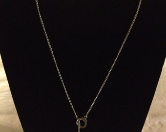 "24"" silver chain handcuff lariat necklace"