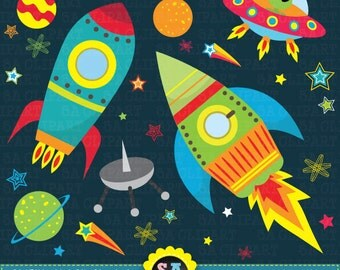 "Outer space clipart:""OUTER SPACE"" clip art pack,spaceship,planets,rockets,stars perfect for scrapbooking,invitations,party card Ca002"