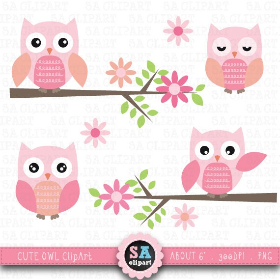"""Owl CLIP ART"" pack, clipart owls,Owl clip art,Pink Owl,Tree Branch ..."