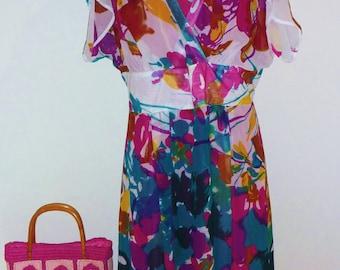 Floral Chiffon Dress, Size 16