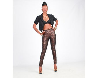 Sexy Stylish Black & Brown Metallic Croc Print Trousers - in 5 sizes