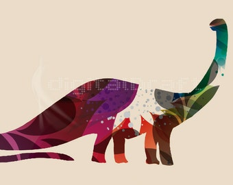 "Dinosaur -  Poster Ilustration - Kids and Nursery Room - Size 11,75"" x 16,5"" -  Kid Prints -  Modern kids Art"