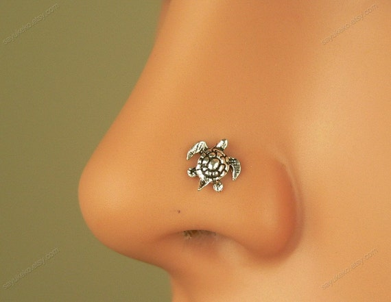 nose ring sterling silver tiny turtle nose stud L post by ...