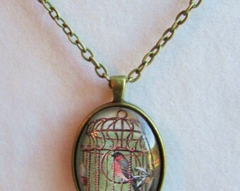 Victorian Oval Pendant with Antique Birdcage Image Under Polished Glass
