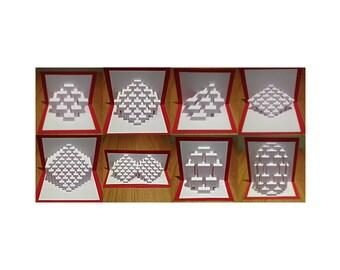 "DIY Templates - ""Ben's Starter Kit"" Kirigami Pop-up paper sculpture patterns for beginners"
