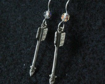 Native American Arrows - Sterling Silver Dangle Earrings