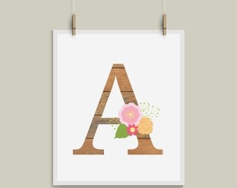 Old Wood Letter A Initial Monogram Alphabet Nursery Art Great for Weddings