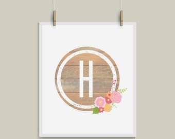 Shabby Chic Letter H Initial Monogram Alphabet Nursery Art Great for Weddings and Gallery Walls