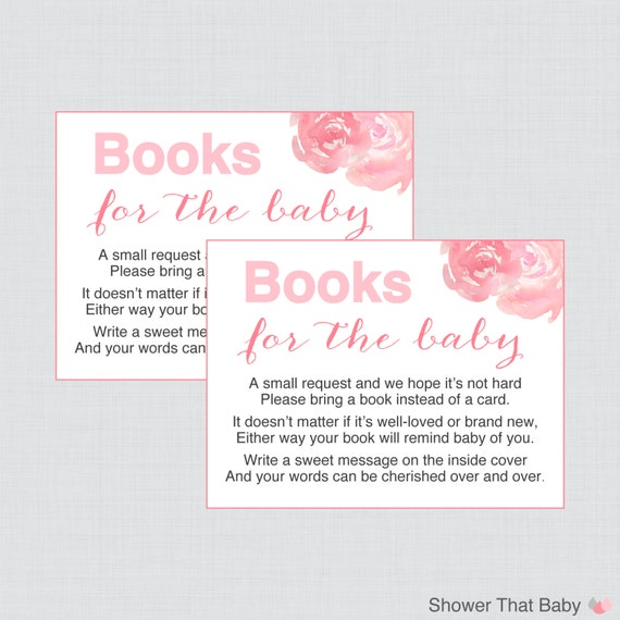 baby shower bring a book instead of a card invitation inserts in pink
