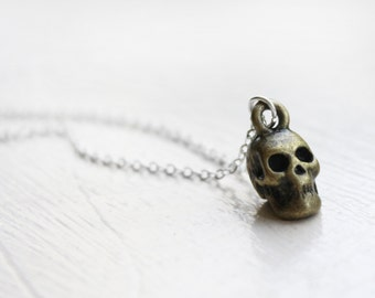Skull Charm Necklace -  Pirate Skull Skeleton Bronze Charm Necklace Pendant