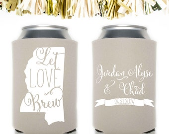 Let Love Brew Wedding Favors: Custom and Personalized Can Cooler // State Beer Banner