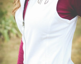 Monogram Vest | Fleece Vest | Monogram Top | Outerwear | Microfleece Vest | Monogrammed Microfleece Vest | Gift for Her | Gifts under 50