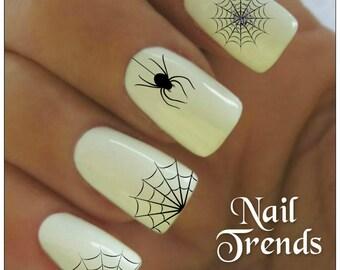 Spider Nail Decal 20  Vinyl Adhesive Decals Halloween Nail Tattoos  Nail Art