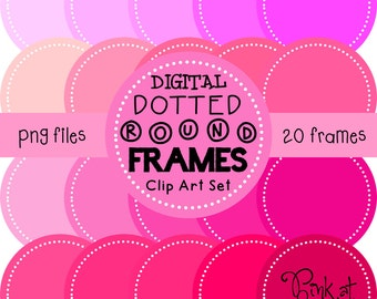 20 png PRETTY IN PINK digital dotted round frames!