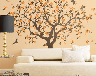 Large Wall  Tree vinyl decal with bird stickers, nature  mural -NT040