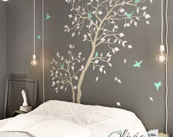 Large Forest home decor Tree vinyl wall decal with birds mural, wall sticker -NT027