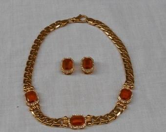 Vintage Bijoux Cascio Florence Italy . Parure formato da una collana a catena e orecchini a clip, anno 1980