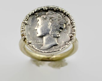 Genuine Mercury Dime Coin Ring, Silver Coin Ring, Coin Ring, Dime Ring, Silver Dime Ring, Coin Jewelry, Electroformed Silver, Statement Ring