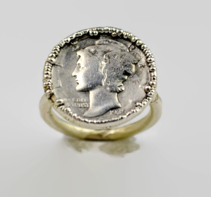 genuine mercury dime coin ring silver coin ring coin ring