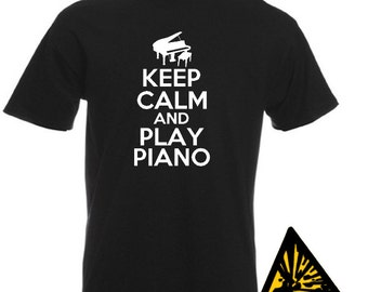 Keep Calm And Play Piano T-Shirt Joke Funny Tshirt Tee Shirt Gift Pianist
