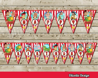 Jake and The Neverland Pirates Bithday Banner - Instant Download - DIY, Digital - Printable Pirates Banner