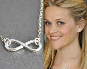 Sterling Silver Infinity Necklace, Infinity Charm Necklace, Celebrity Inspired necklace, Reese Witherspoon