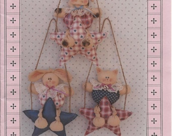 """Vintage Sewing Pattern 1992 Wish Upon a Star 9"""" cow bunny cat hanging on a star by Stuff-n-Stitches  new, uncut"""