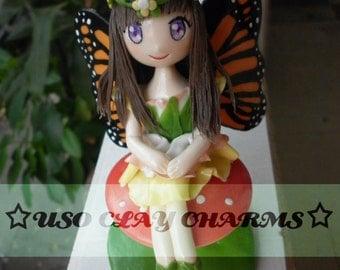 Fairy girl charm, clay figure