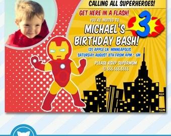 Superhero Invitation for Iron-Man Birthday Party, Iron-Man Birthday Invitation- Printable Digital File