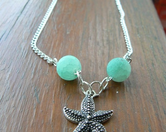 Summer Series:  Starfish Necklace with Frosted Pale Green Beads