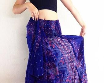 Women Maxi Dress Gypsy Dress Skirt Rayon Dress Skirt Boho Dress Hippie Dress Summer Beach Dress Long Skirt Clothing Navy Blue (DS27)
