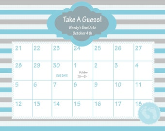 ... due date calendar baby shower game guess the date baby boy 18 00