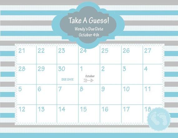 ... Due Date Calendar // Baby Shower Game // Guess the Date // Baby Boy