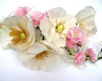 Beautiful Hand-Made Paper Flower Garland / Weddings / Bridal Shower / Decorations